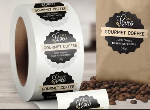 China Custom Logo Self Adhesive Labels , Custom Roll Label Stickers For Food Coffee Package supplier