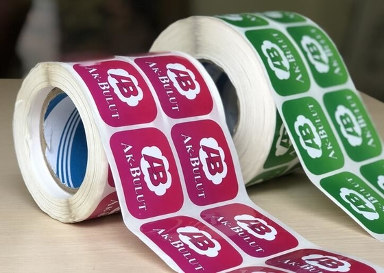 Durable Glossy Sticker Labels / Warning Label Rolled With Custom Logo